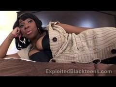 Busty black slut fucks with Hamer on the bed.