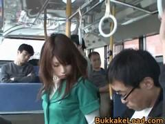 Ohrenevshy men in the bus rigidly fuck cute schoolgirl