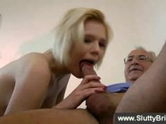 Blonde fucking with grandpa while passionately fucked