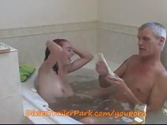 Stepfather head washes his stepdaughter in the bath
