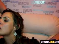 Hot girls tipsy enjoying blowjob at a party.