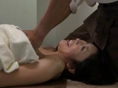 Massage with oil had a strong stimulating effect on the busty asian.