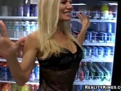 Concerned blonde slut pleased the men in the shop.