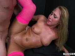 In pink stockings myagenkaya girl squeals with delight at the position from the top.