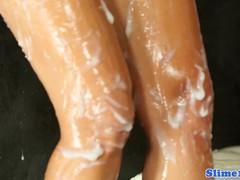 Glamorous half-naked girl hysteria with pleasure flooded trim sperm.