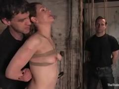 In the basement ends up tied to a pole Sarah Shevon.