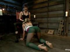 Blonde in a cellar witch attempts electric and fucks threesome.
