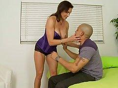Dark haired woman in erotic, purple corset, Raven likes to get fucked in a doggy style position
