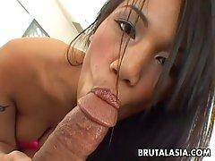 Asian brunette, Lucy Thai still likes her ex boyfriend and enjoys fucking him and his friend