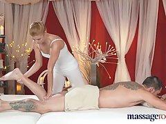 Blonde masseuse is well known for doing naughty things with her clients, during a massage therapy