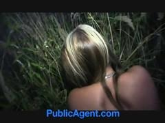 Slicker seduced and fucked the girl in the bushes near the bus stop.
